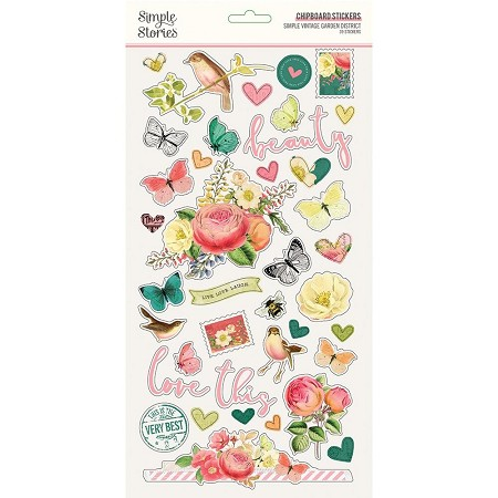 Simple Stories - Simple Vintage Garden District collection Chipboard stickers
