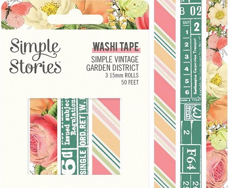 Simple Stories - Simple Vintage Garden District collection Washi Tapes (3 rolls)