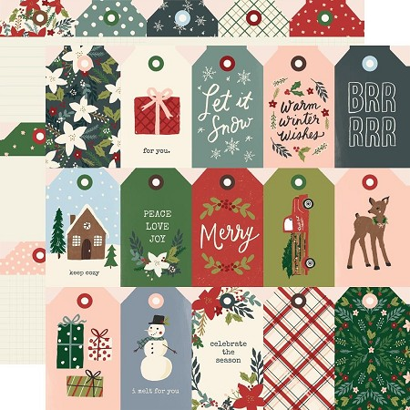 Simple Stories - Winter Cottage collection - Tags 12x12 cardstock
