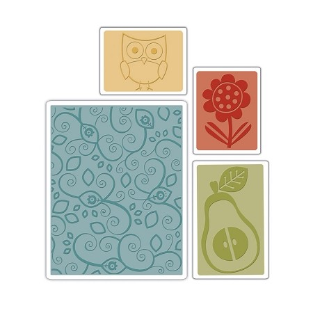 Sizzix-Textured Impressions by Basic Grey-Flower, Owl & Pear Set  :)