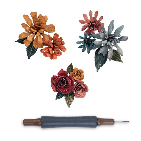 Sizzix - Thinlits Dies by Tim Holtz - 15PK Tiny Tattered Florals w/ Quilling Tool