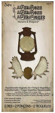 Sizzix - Movers & Shapers by Tim Holtz - Magnetic Die Set - 2 Pack - Mini Lantern & Antlers
