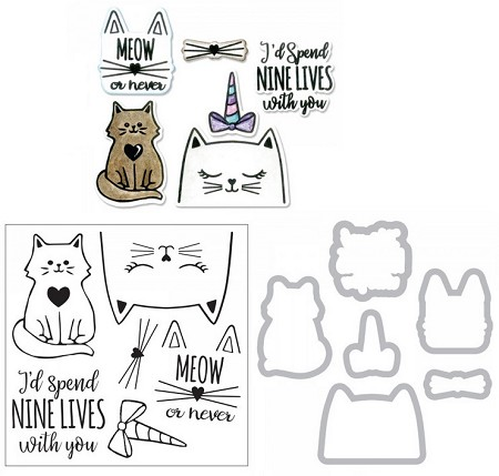 Sizzix - Framelits die & stamp set - Nine Lives by Jen Long