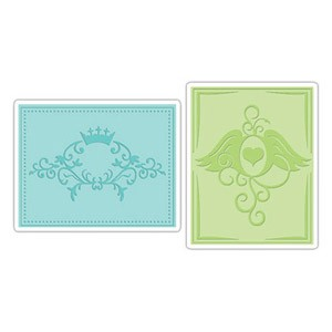 Sizzix Textured Impressions - Crown Flourish & Heart Wings Set By Beth Reames :)