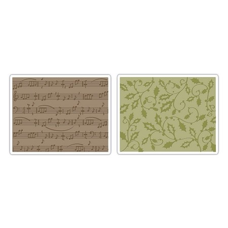 Sizzix Textured Impressions - Holly Swirls & Sheet Music by Rachael Bright