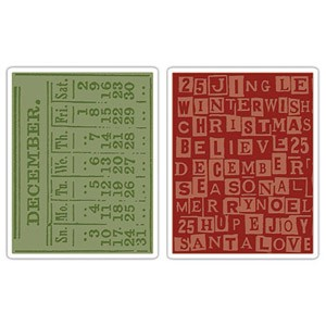 Sizzix Texture Fades by Tim Holtz - December Calendar & Holiday Words