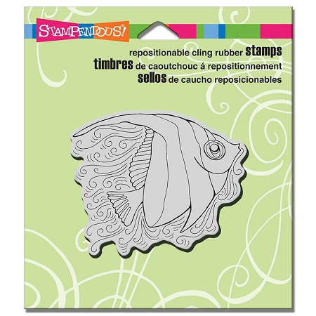 Stampendous - Cling Mounted Rubber Stamp - PenPattern Angel Fish