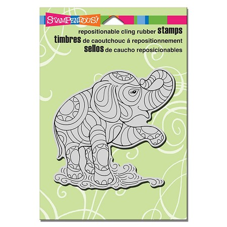 Stampendous - Cling Mounted Rubber Stamp - PenPattern Elephant