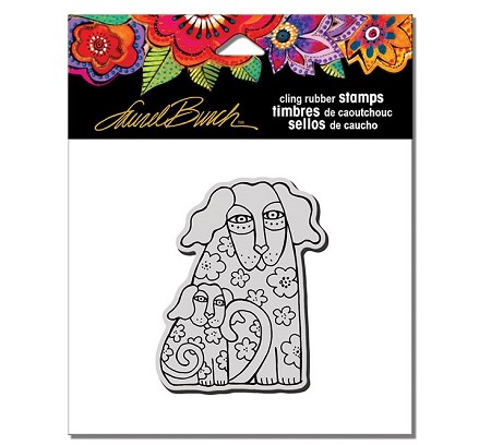 Stampendous - Laurel Burch - Dog Duo Cling Rubber Stamp