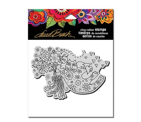 Stampendous - Laurel Burch - Cling Love Cat Angel Rubber Stamp