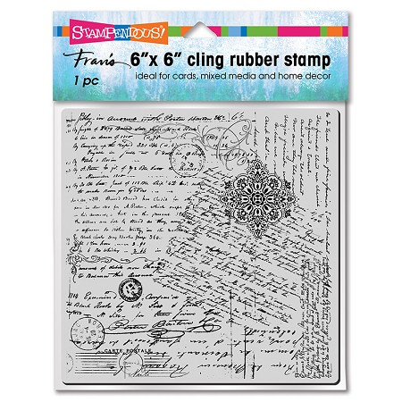 "Stampendous - 6""x6"" Cling Posted Script Rubber Stamp"