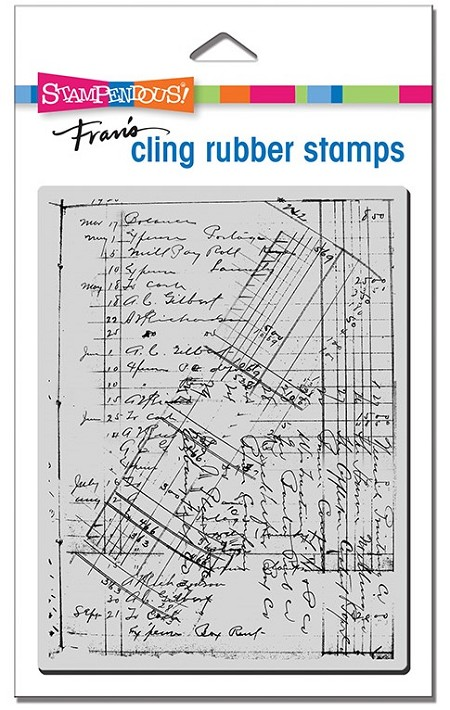 Stampendous - Cling Ledger Script Rubber Stamp