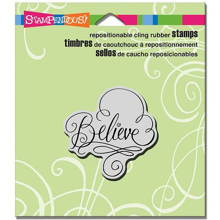 Stampendous - Cling Mounted Rubber Stamp - Believe Scrolls