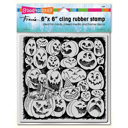 "Stampendous - 6""x6"" Cling Pumpkin Spooks Rubber Stamp"