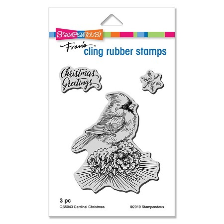 Stampendous - Cardinal Christmas Cling Rubber Stamp Set