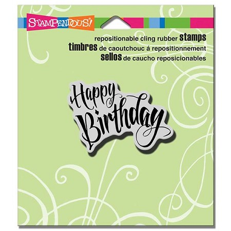 Stampendous - Cling Mounted Rubber Stamp - Penned Birthday