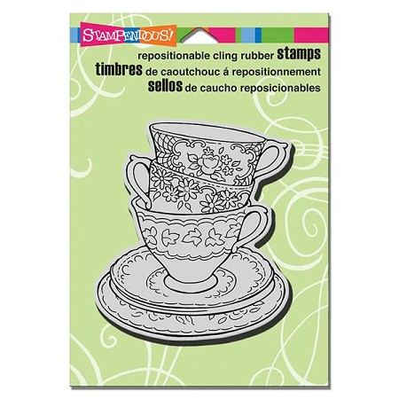 Stampendous - Cling Mounted Rubber Stamp - Teacup Trio