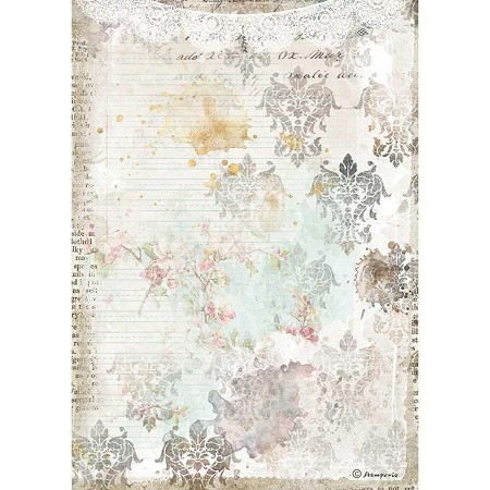 Stamperia - Romantic Journal Texture w/Lace Rice Paper