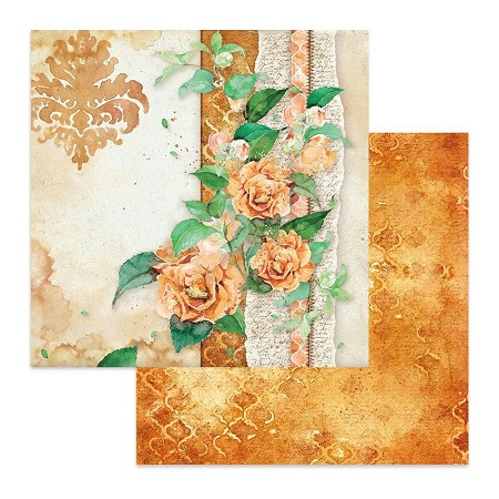 "Stamperia - Flowers For You - Coral Rose 12""x12"" Paper"