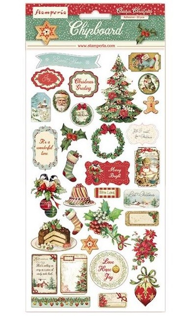Stamperia - Classic Christmas 6x12 Chipboard Stickers