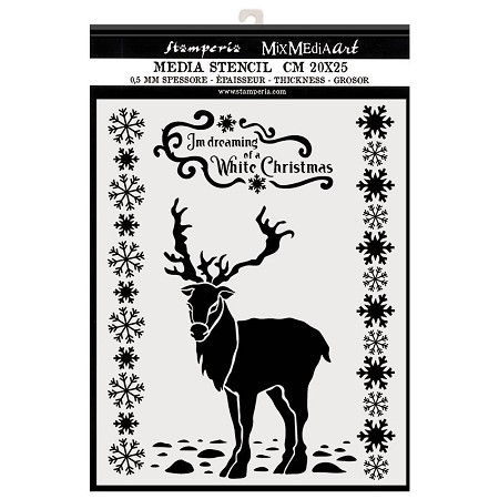 Stamperia - Winter Tales White Christmas Deer Stencil (8x10)