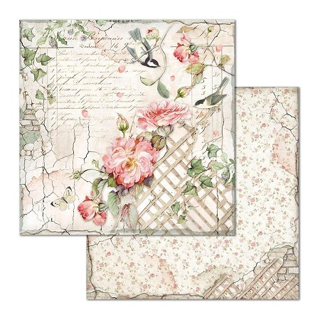 "Stamperia - House of Roses - Fence with Little Bird 12""x12"" Paper"