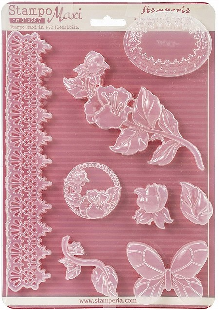 Stamperia - Stampo Maxi PVC Mold - Roses & Border