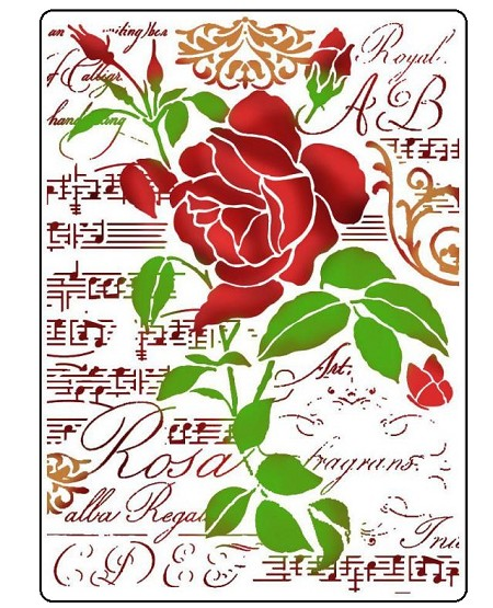 Stamperia - Roses and Music Stencil (8x11.5)