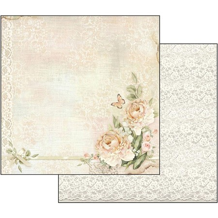 "Stamperia - Ceremony - Peony & Lace 12""x12"" Paper"