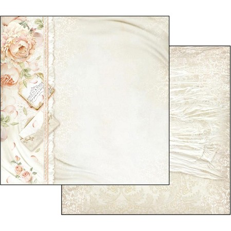 "Stamperia - Ceremony - Peony & Letters 12""x12"" Paper"