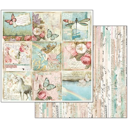 "Stamperia - Wonderland - Butterflies & Unicorn Cards 12""x12"" Paper"