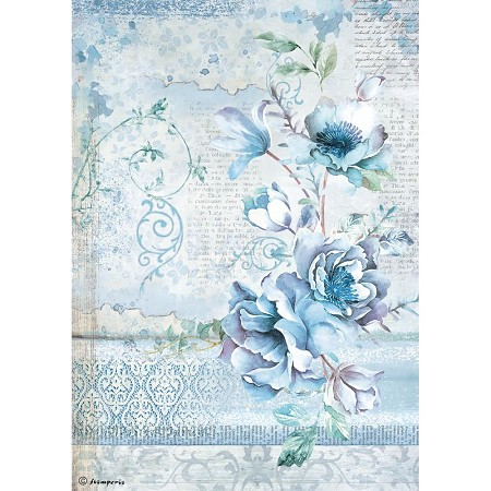 Stamperia - Blue Land - Flowers Rice Paper