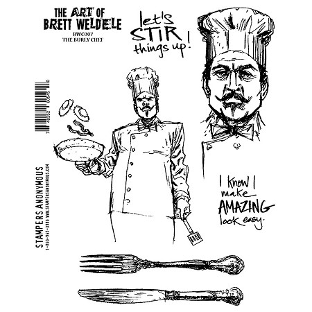 Stamper's Anonymous - Brett Weldele Cling Rubber Stamp Set - Burly Chef