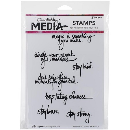 Ranger - Dina Wakley Media - Cling Mounted Rubber Stamp Set - Handwritten Quotes