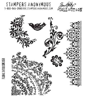 Tim Holtz-Cling Rubber Stamp Set-Floral Tattoo :)