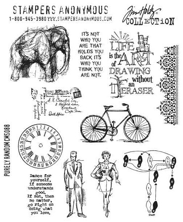 Tim Holtz-Cling Rubber Stamp Set-Purely Random