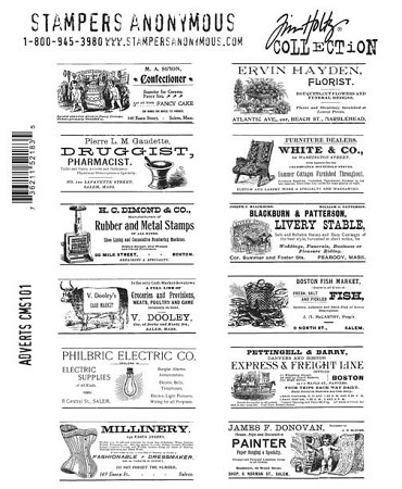 Tim Holtz-Cling Rubber Stamp Set-Adverts