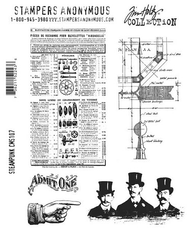 Tim Holtz-Cling Rubber Stamp Set-Steampunk