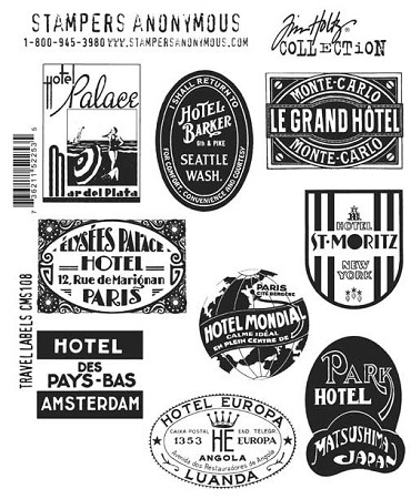 Tim Holtz-Cling Rubber Stamp Set-Travel Labels