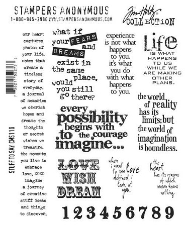 Tim Holtz-Cling Rubber Stamp Set-Stuff to Say