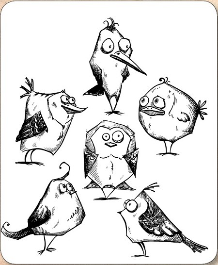 Stamper's Anonymous / Tim Holtz - Cling Mounted Rubber Stamp Set - Bird Crazy
