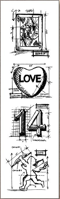 Stamper's Anonymous / Tim Holtz - Cling Mounted Rubber Stamp Set - Mini Blueprints Valentine