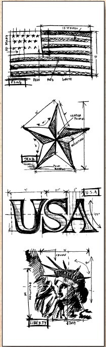 Stamper's Anonymous / Tim Holtz - Cling Mounted Rubber Stamp Set - Mini Blueprints Americana
