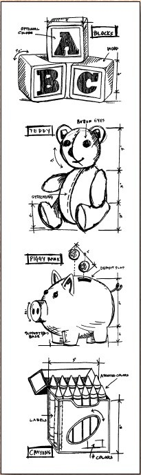 Stamper's Anonymous / Tim Holtz - Cling Mounted Rubber Stamp Set - Mini Blueprints Childhood