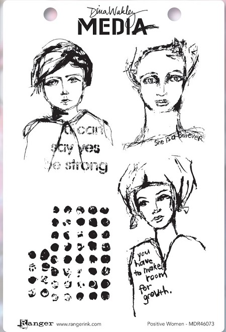 Ranger - Dina Wakley Media - Cling Mounted Rubber Stamp Set - Positive Women