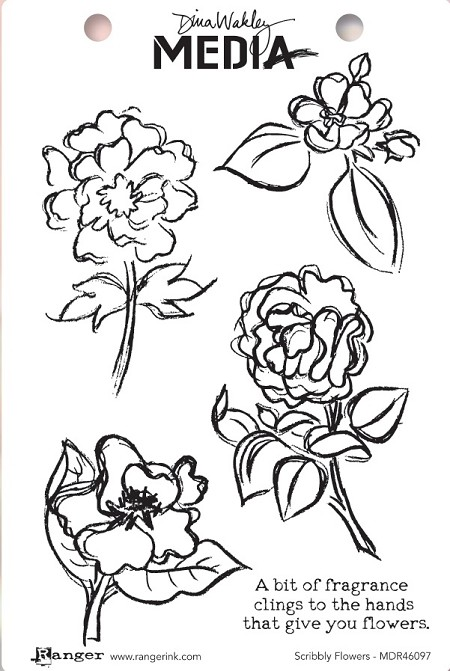 Ranger - Dina Wakley Media - Scribbly Flowers Cling Mounted Rubber Stamp Set