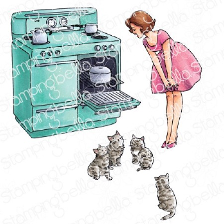 Stamping Bella - Cling Rubber Stamp - Edgar And Molly Vintage Here Kitty Set