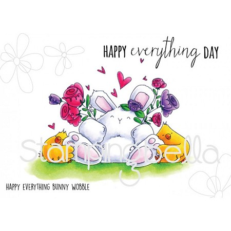 Stamping Bella - Cling Rubber Stamp - Happy Everything Bunny Wobble