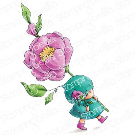 Stamping Bella - Cling Rubber Stamp - Bundle Girl With A Rose