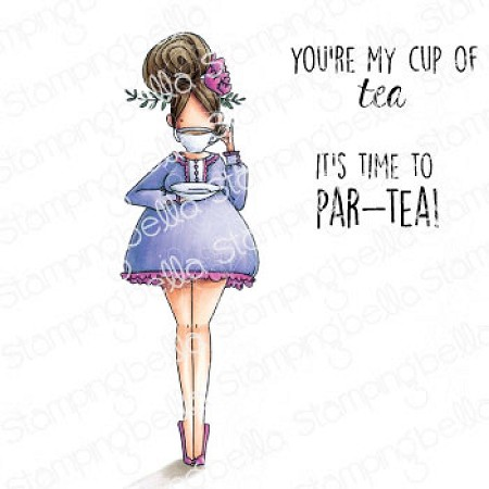 Stamping Bella - Cling Rubber Stamp - Curvy Girl Loves Tea